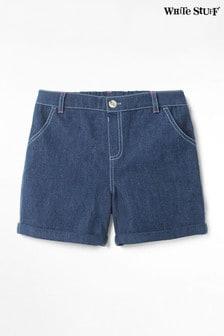 White Stuff Blue Kids Embroidered Spot Denim Shorts