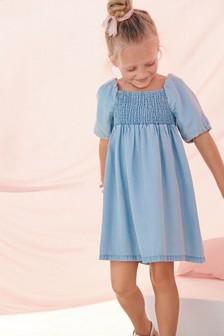 Puff Sleeve Shirred Dress (3-16yrs)
