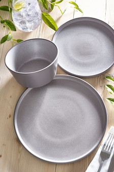 12 Piece Grey Reece Reactive Glaze Dinner Set