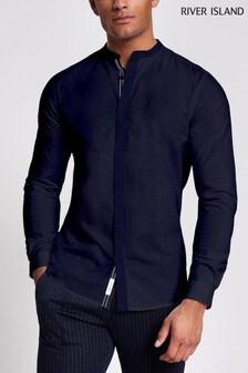 River Island Navy Texture Grandad Shirt