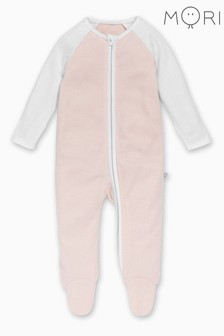 MORI Blush Stripe Raglan Sleeve Zip-Up Sleepsuit