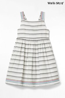 White Stuff Sommerkleid aus Webmaterial für Kinder mit Streifen, Weiß