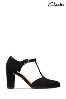 Clarks Black Suede Kaylin85 T-Bar Shoes