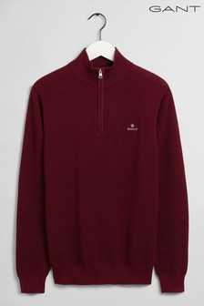 Gant Red Cotton Half Zip Pique Top