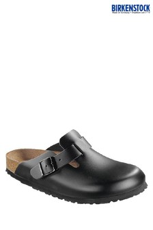 Birkenstock® Black Leather Clogs