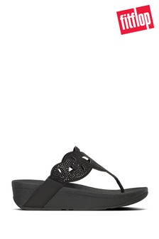 FitFlop™ Black Elora Crystal Toe Thong Sandals