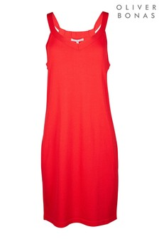 Oliver Bonas Gathered Back/Red Strappy Knitted Mini Dress