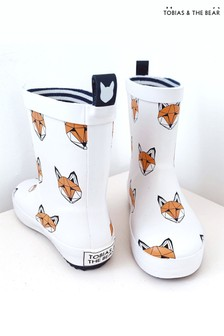 Tobias & The Bear White Just Call Me Fox Rainboots