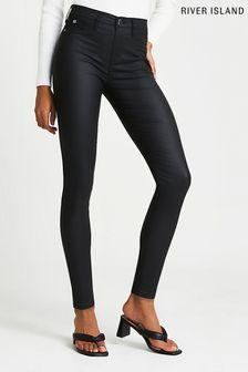 River Island Black Coated Joyride Molly Jeans (285099) | $62