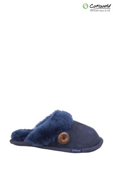 Cotswold Blue Lechlade Sheepskin Mule Slippers