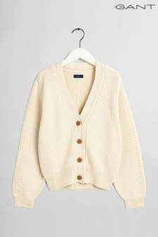 GANT Cream  Ribbed Detail V-Neck Cardigan