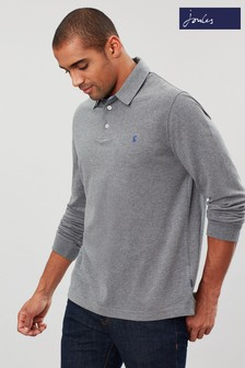 Joules Grey Woodwell Long Sleeve Polo Shirt
