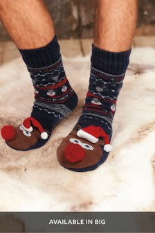 Reindeer Novelty Borg Lined Slipper Socks
