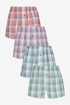 Lot de quatre boxers tissés à motifs en pur coton