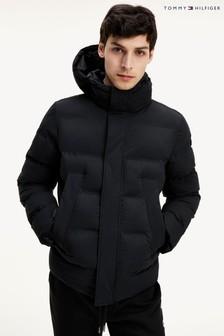Tommy Hilfiger Black Hooded Stretch Bomber Jacket