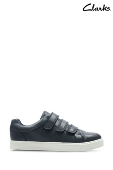 Clarks Navy City Oasis Lo K Velcro Shoes