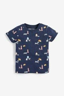 Tričko s krátkymi rukávmi s prímorskou potlačou (3 mes. – 7 rok.)