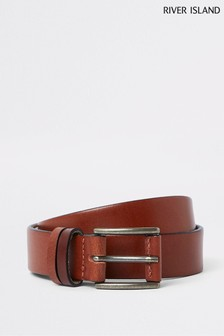 River Island Brown Leather Double Keeper Belt
