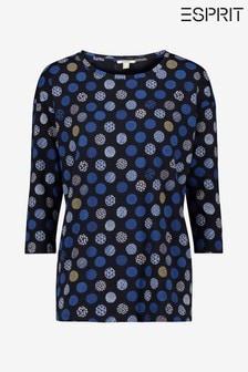 חולצת טי עם שרוולקצר בכחולעם הדפסלנשיםשל Espirit