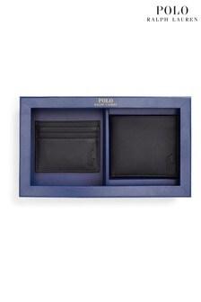 Комплект с бумажником и визитницей из черной гладкой кожи Polo Ralph Lauren