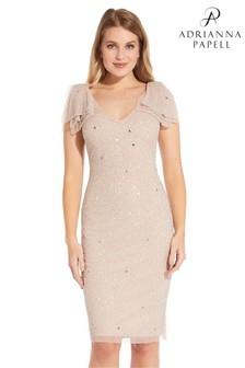 Adrianna Papell Beaded V-Neck Cocktail Dress