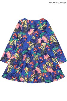 Polarn O. Pyret Tropisch bedrucktes Kleid aus Bio-Baumwolle, Blau
