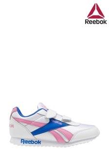 Reebok銀灰色/粉色Royal幼童黏扣式運動鞋