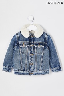 River Island Blue Bright Mb Borg Lined Denim Jacket