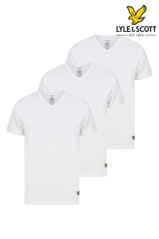 Lyle & Scott White V- Neck Lounge T-Shirts Three Pack