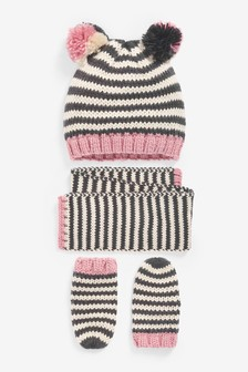 3 Piece Hat, Scarf And Mittens Set (Younger)