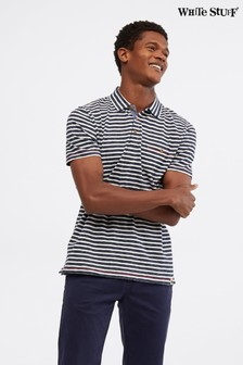 White Stuff Blue Calder Stripe Organic Polo