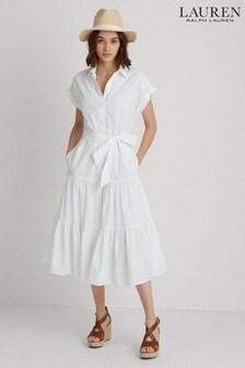 Lauren Ralph Lauren® Blue/White Stripe Tiered Vilma Shirt Dress