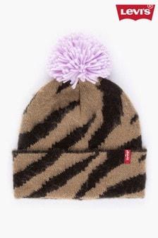 כובע גרב של®Levi's בדוגמהחייתית עם פונפון