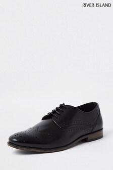River Island Black Classic Leather Brogues