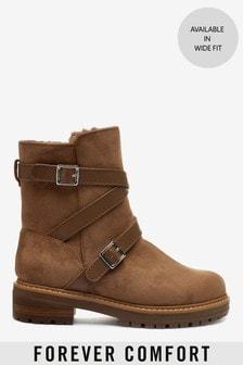 Forever Comfort® Stiefel mit Fellimitatfutter und Schnallenriemen
