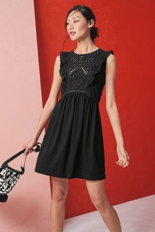 Broderie Frill Sleeve Dress