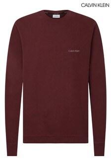 Calvin Klein レッド ロゴ刺繍入りスウェットシャツ