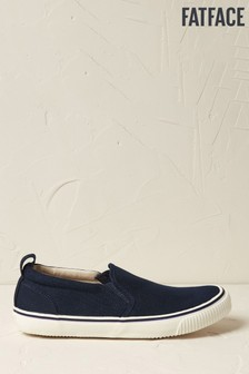 FatFace Navy Organic Slip-On Trainers