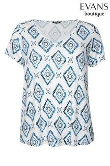 חולצת טי עם שרוולים קצרים והדפס למידות גדולות של Evans בנייבי