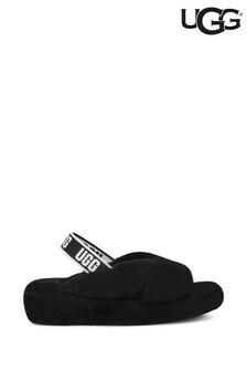Черные пушистые сандалии-тапочки с эластичным ремешком UGG® Fab Yeah