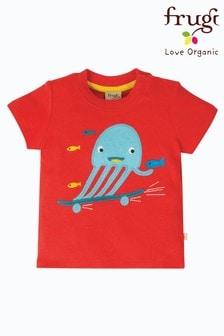 Frugi® Red GOTS Organic T-Shirt With Skateboarding Jellyfish Appliqué