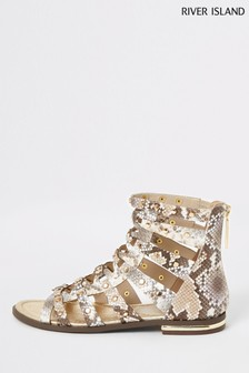 River Island Grey Flat Gladiator Sandals