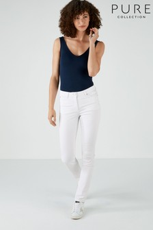 Pure Collection White Mowbray Slim Leg Jeans
