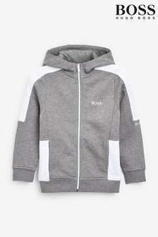 BOSS Grey Logo Zip Hoodie