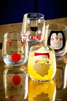 Set of 4 Santa & Friends Tumbler Glasses