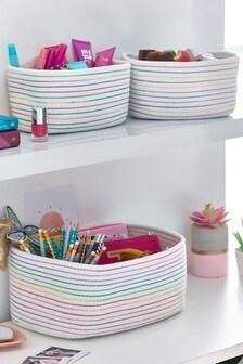 3 Pack Rainbow Braided Storage Baskets