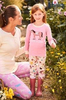Розовый пижамный комплект с аппликацией и принтом домашних животных Hatley