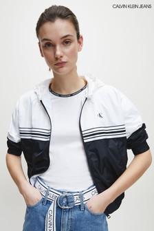 Calvin Klein ブラック ストライプ テープ ウィンドブレーカージャケット