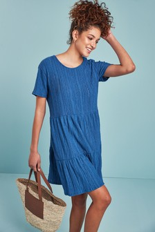 Broderie Short Sleeve T-Shirt Dress