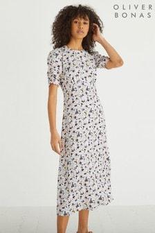 Oliver Bonas Blue Charleston Floral Print Midi Dress